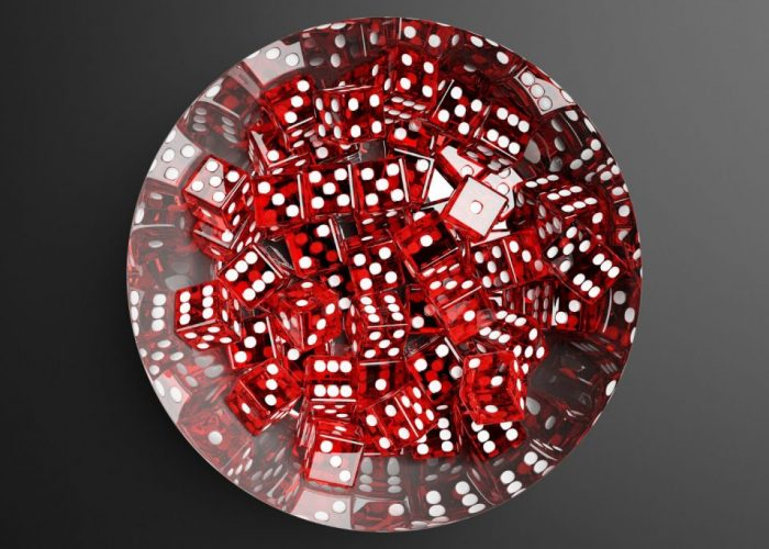3d-illustration-close-up-metalt-plate-with-red-dice-gray-background (1) (1)